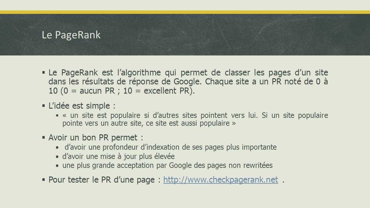 Le PageRank  Le PageRank est l'algorithme qui permet de classer les pages d'un site dans les résultats de réponse de Google.