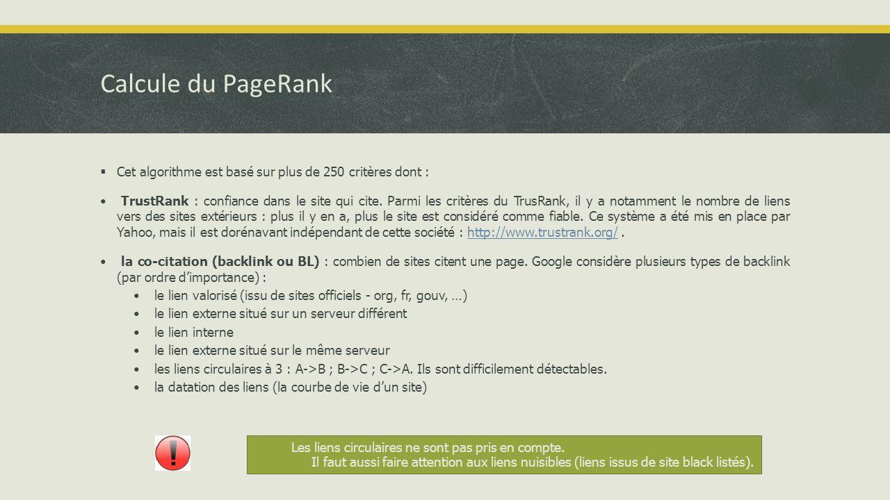 Calcule du PageRank  Cet algorithme est basé sur plus de 250 critères dont : • TrustRank : confiance dans le site qui cite.