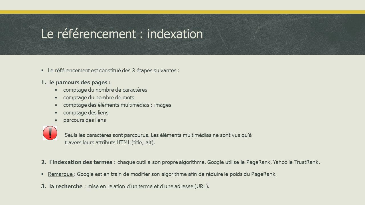 Le référencement : indexation  Le processus d'indexation, de classement puis d'affichage des résultats peut être formalisé de la manière suivante :