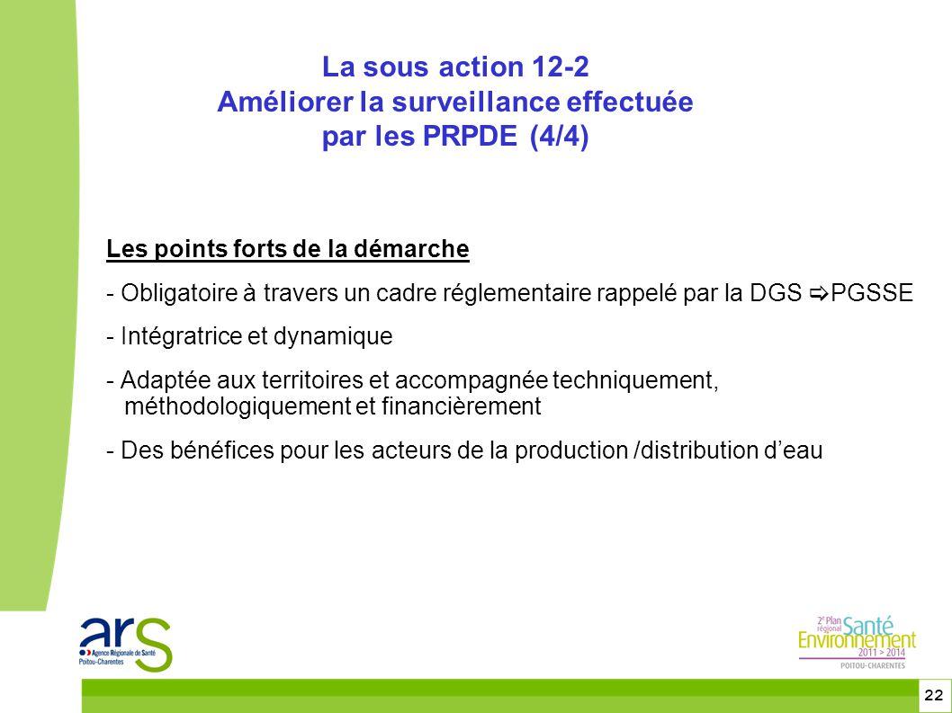 22 Les points forts de la démarche - Obligatoire à travers un cadre réglementaire rappelé par la DGS  PGSSE - Intégratrice et dynamique - Adaptée aux territoires et accompagnée techniquement, méthodologiquement et financièrement - Des bénéfices pour les acteurs de la production /distribution d'eau La sous action 12-2 Améliorer la surveillance effectuée par les PRPDE (4/4)