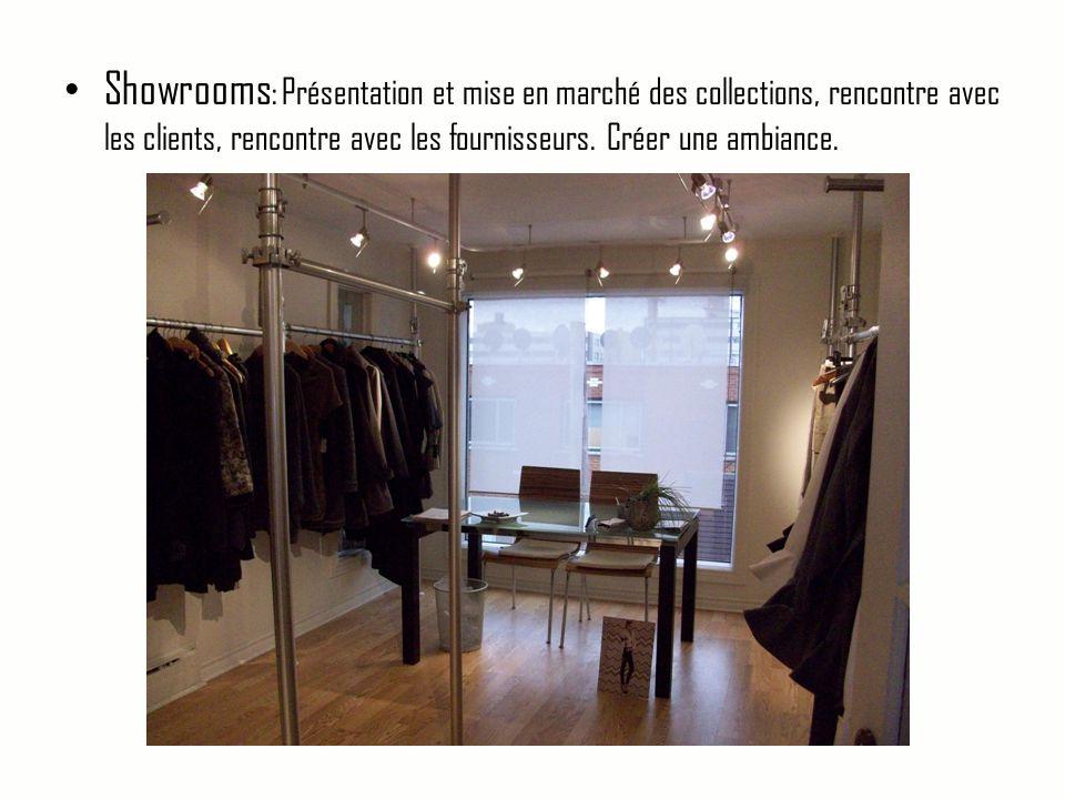 • Showrooms : Présentation et mise en marché des collections, rencontre avec les clients, rencontre avec les fournisseurs. Créer une ambiance.