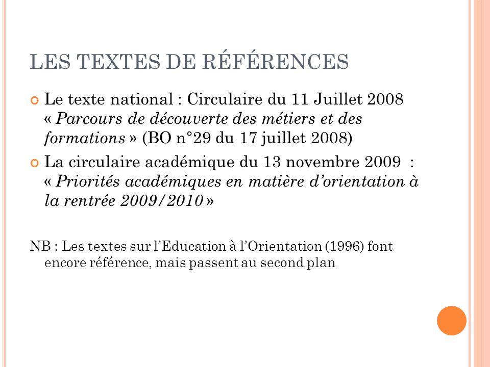 LES TEXTES DE RÉFÉRENCES Le texte national : Circulaire du 11 Juillet 2008 « Parcours de découverte des métiers et des formations » (BO n°29 du 17 jui