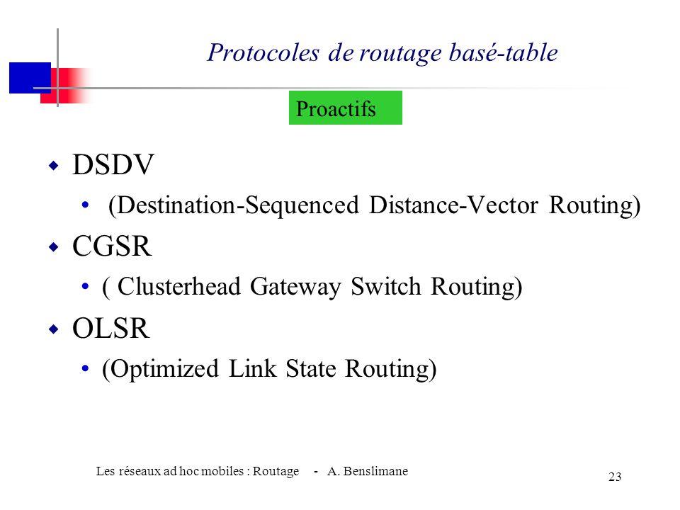 Les réseaux ad hoc mobiles : Routage - A. Benslimane 22 •Crée les routes à la demande du nœud source •Lorsqu'une route est établie, elle est maintenue