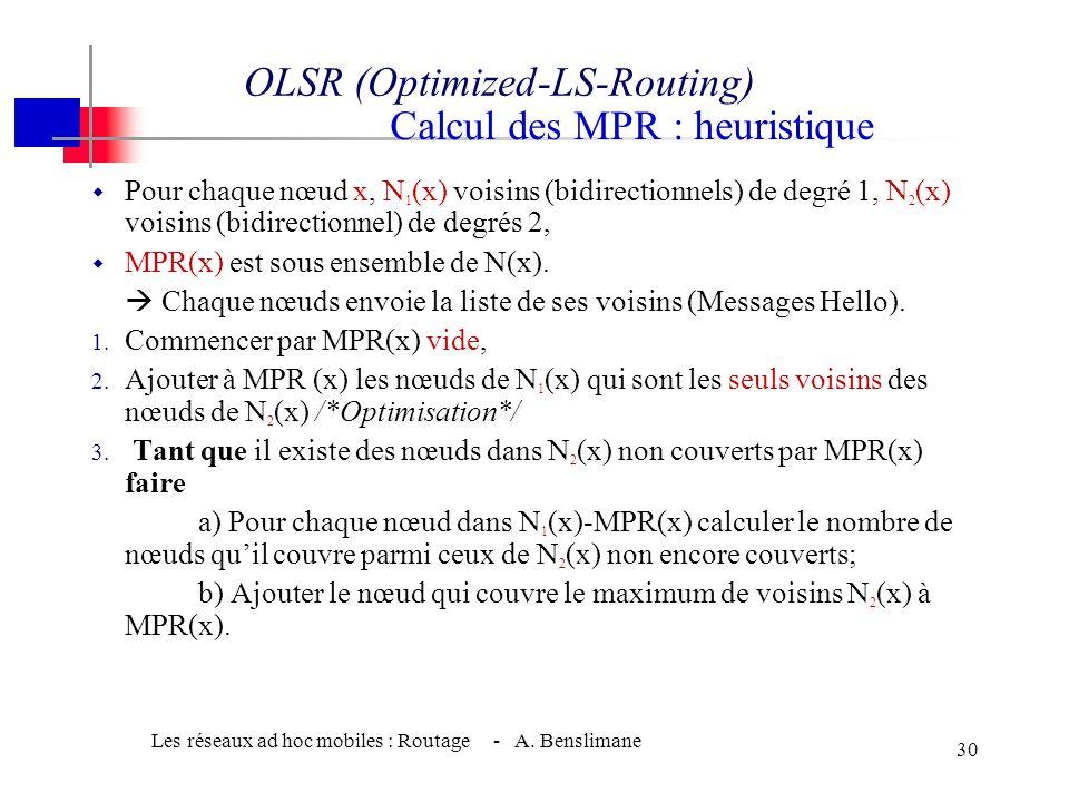 Les réseaux ad hoc mobiles : Routage - A. Benslimane 29 •Sous ensemble des voisins d'un nœud. •Se charge de l'acheminement du trafic et la rediffusion