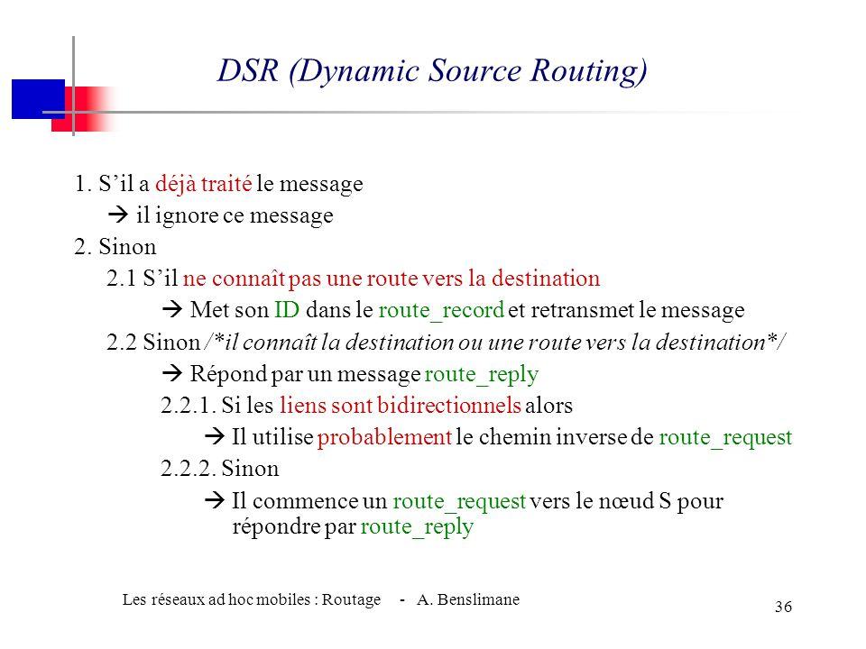 Les réseaux ad hoc mobiles : Routage - A. Benslimane 35 w Algorithme : 2 Phases (2/2) w Répondre à une requête de routage (route reply) w Quand un nœu