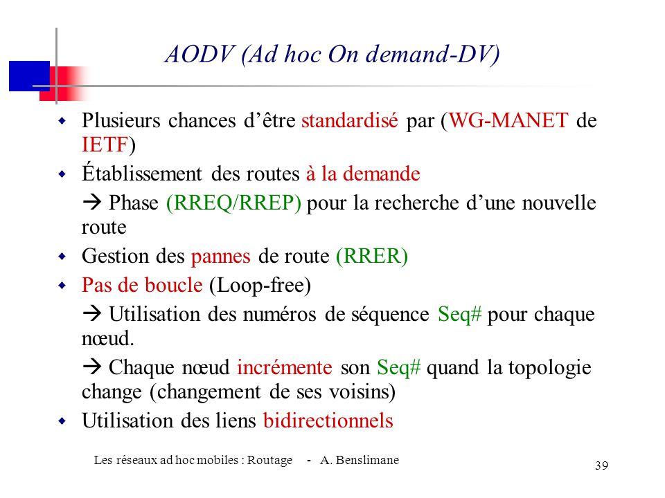 Les réseaux ad hoc mobiles : Routage - A. Benslimane 38 DSR (Dynamic Source Routing) Un exemple de propagation du paquet RREP depuis la destination 15