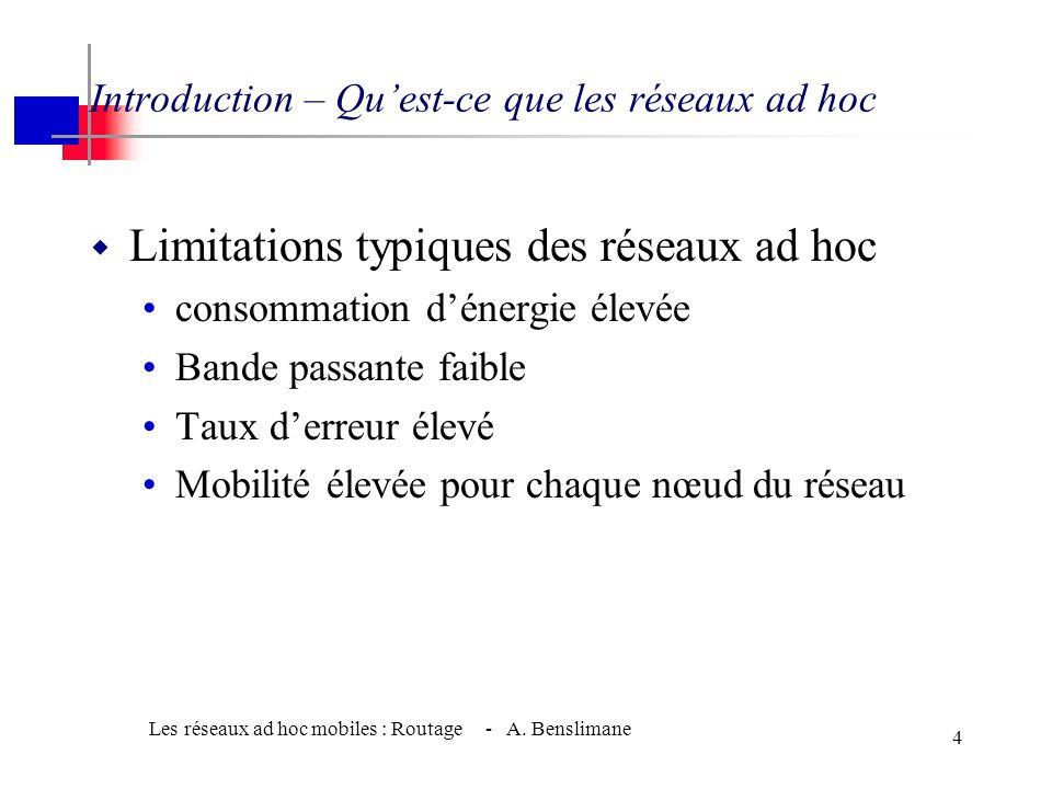 Les réseaux ad hoc mobiles : Routage - A. Benslimane 3 Introduction – Qu'est-ce que les réseaux ad hoc •Exemple d'application des réseaux ad-hoc : - R