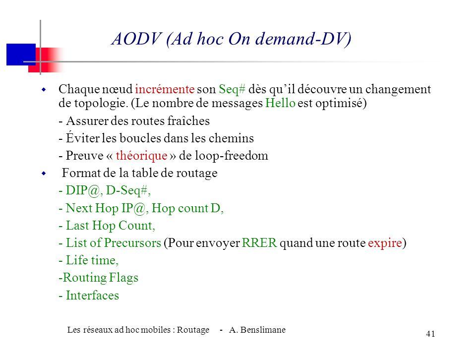 Les réseaux ad hoc mobiles : Routage - A. Benslimane 40 w Phase RREQ w S nœud source, D nœud destination. w S inonde (selon TTL) un message RREQ et ac