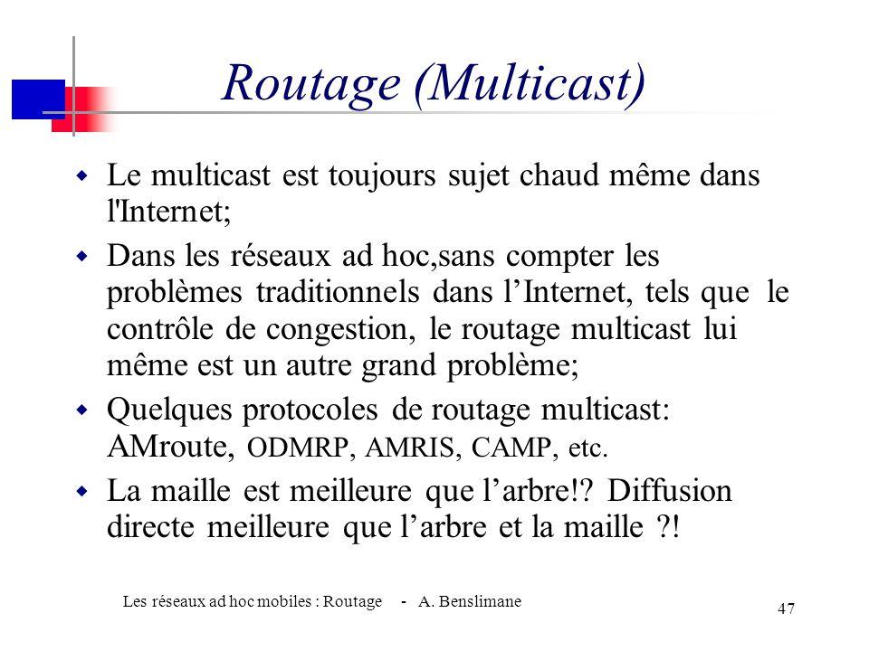 Les réseaux ad hoc mobiles : Routage - A. Benslimane 46 AODV (Ad hoc On demand-DV) Exemple 12 11 12 13 14 15 10 6 5 9 8 7 3 4 Acheminement des réponse