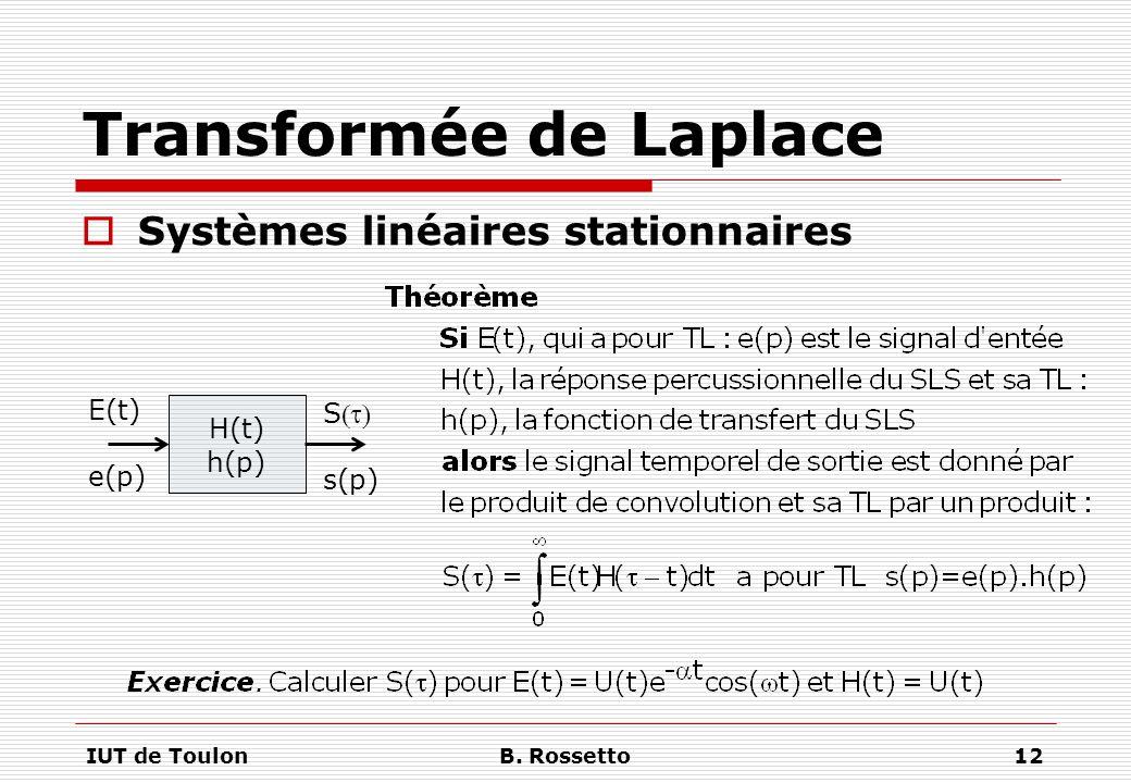 IUT de ToulonB. Rossetto12 Transformée de Laplace  Systèmes linéaires stationnaires H(t) h(p) E(t) e(p) S s(p)