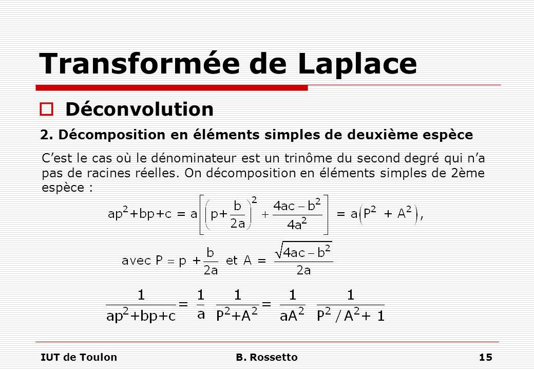 IUT de ToulonB. Rossetto15 Transformée de Laplace  Déconvolution C'est le cas où le dénominateur est un trinôme du second degré qui n'a pas de racine