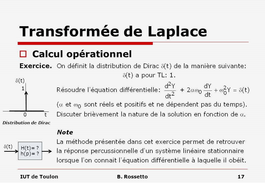 IUT de ToulonB. Rossetto17 Transformée de Laplace  Calcul opérationnel Exercice. (t) 0 t 1 Distribution de Dirac H(t)= ? h(p)= ? (t)