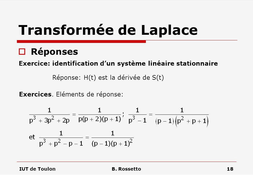 IUT de ToulonB. Rossetto18 Transformée de Laplace  Réponses Exercice: identification d'un système linéaire stationnaire Exercices. Eléments de répons