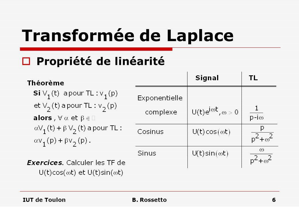 IUT de ToulonB.Rossetto17 Transformée de Laplace  Calcul opérationnel Exercice.