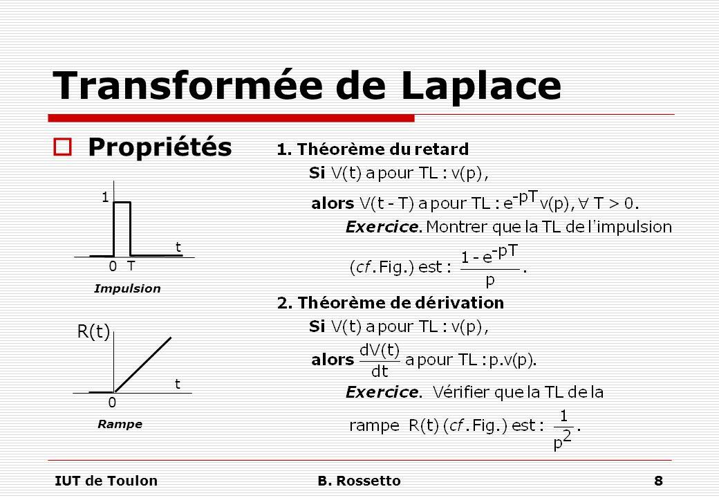 IUT de ToulonB. Rossetto8 Transformée de Laplace  Propriétés 0 t 1 Impulsion 0 t Rampe R(t) T