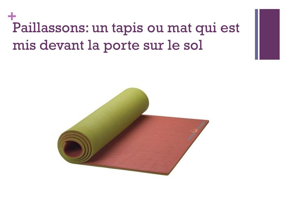 + Paillassons: un tapis ou mat qui est mis devant la porte sur le sol