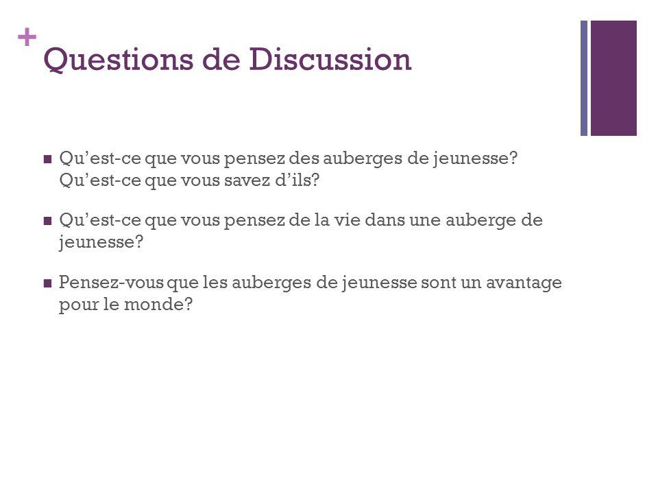+ Questions de Discussion  Qu'est-ce que vous pensez des auberges de jeunesse? Qu'est-ce que vous savez d'ils?  Qu'est-ce que vous pensez de la vie