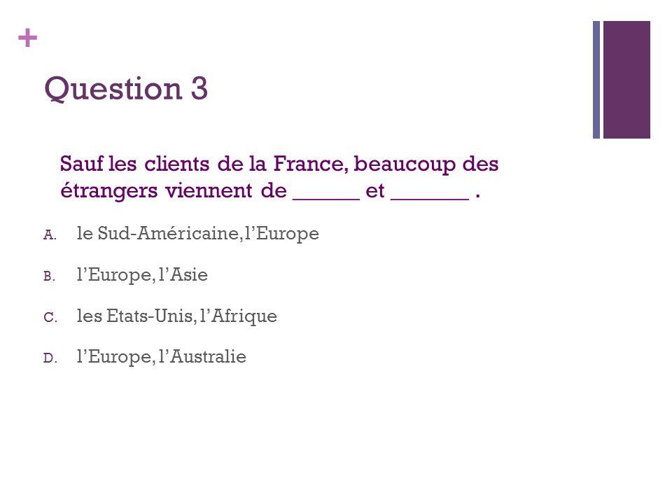 + Question 3 Sauf les clients de la France, beaucoup des étrangers viennent de ______ et _______. A. le Sud-Américaine, l'Europe B. l'Europe, l'Asie C