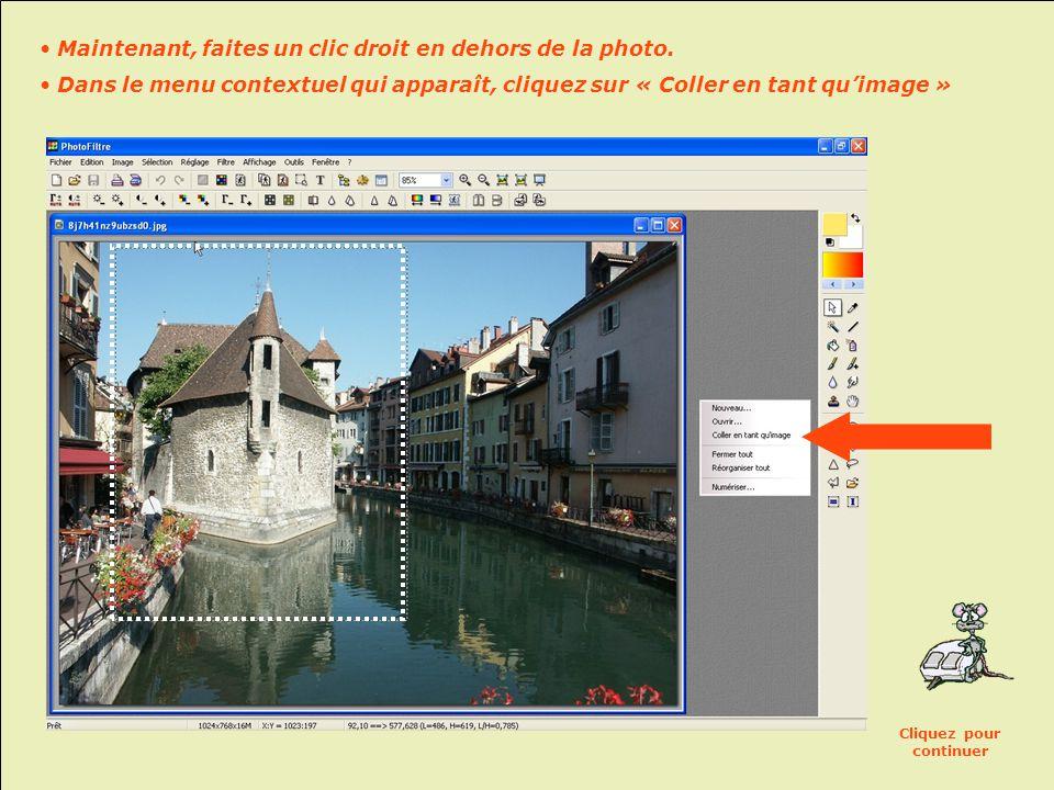 Si vous désirez créer une nouvelle image à partir de la zone sélectionnée d'une photo: • Clic droit dans la zone sélectionnée • Dans le menu contextuel qui apparaît, cliquez sur « Copier » Cliquez pour continuer