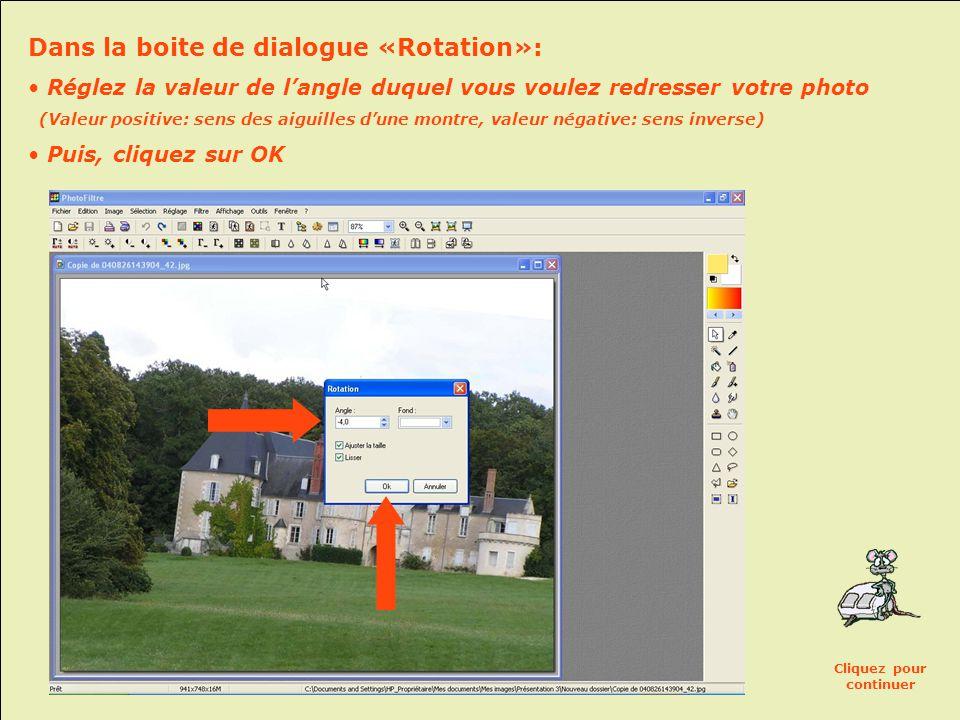 Dans la boite de dialogue «Rotation»: • Réglez la valeur de l'angle duquel vous voulez redresser votre photo (Valeur positive: sens des aiguilles d'une montre, valeur négative: sens inverse) • Puis, cliquez sur OK Cliquez pour continuer