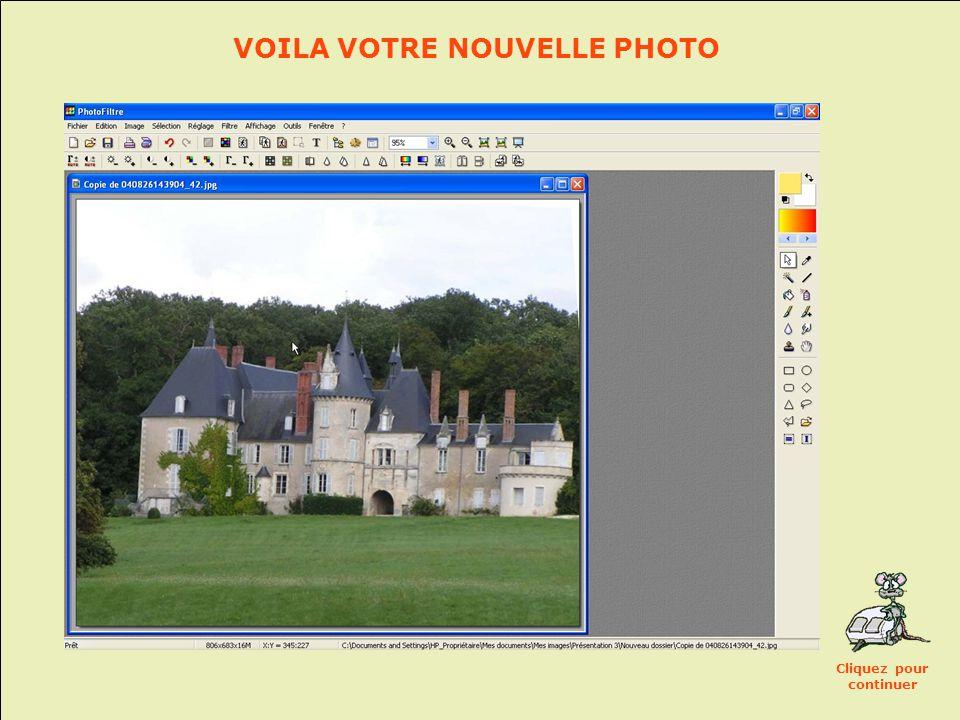 Recadrez maintenant votre photo: • En maintenant le clic gauche, sélectionnez la zone de l'image à conserver • Puis: Menu Image>Recadrer Cliquez pour continuer