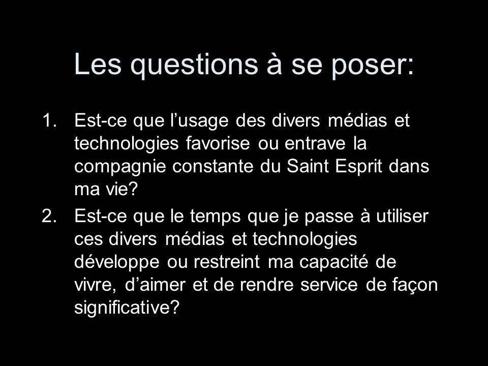 Les questions à se poser: 1.Est-ce que l'usage des divers médias et technologies favorise ou entrave la compagnie constante du Saint Esprit dans ma vi