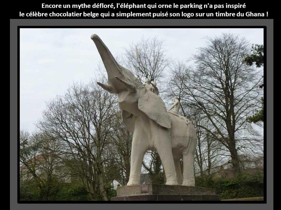 Encore un mythe défloré, l éléphant qui orne le parking n a pas inspiré le célèbre chocolatier belge qui a simplement puisé son logo sur un timbre du Ghana !