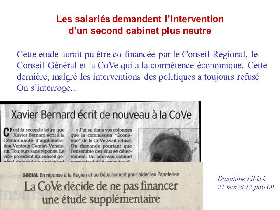 Les salariés demandent l'intervention d'un second cabinet plus neutre Cette étude aurait pu être co-financée par le Conseil Régional, le Conseil Génér