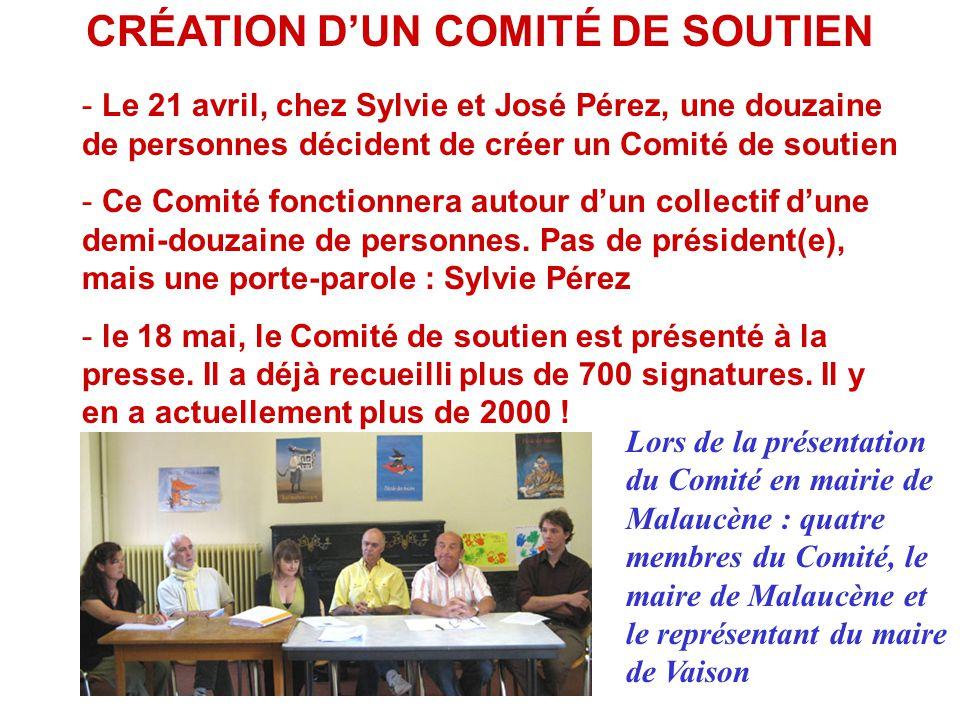 CRÉATION D'UN COMITÉ DE SOUTIEN - Le 21 avril, chez Sylvie et José Pérez, une douzaine de personnes décident de créer un Comité de soutien - Ce Comité