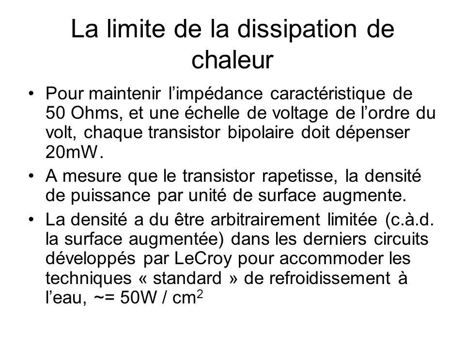 La limite de la dissipation de chaleur •Pour maintenir l'impédance caractéristique de 50 Ohms, et une échelle de voltage de l'ordre du volt, chaque transistor bipolaire doit dépenser 20mW.
