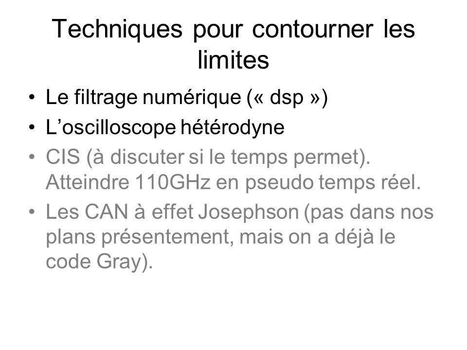 Techniques pour contourner les limites •Le filtrage numérique (« dsp ») •L'oscilloscope hétérodyne •CIS (à discuter si le temps permet).
