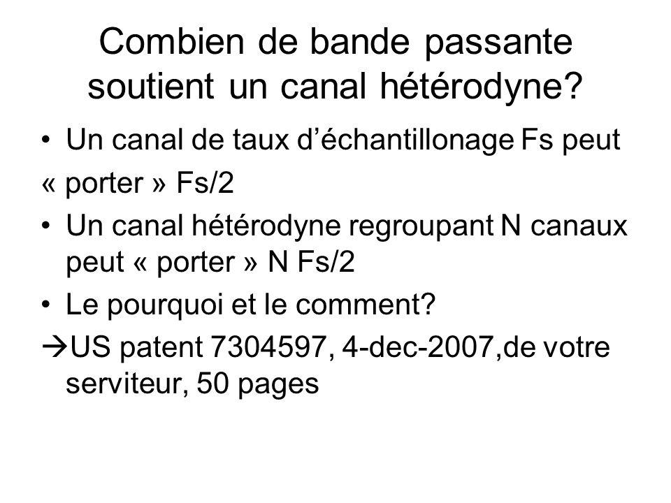Combien de bande passante soutient un canal hétérodyne? •Un canal de taux d'échantillonage Fs peut « porter » Fs/2 •Un canal hétérodyne regroupant N c