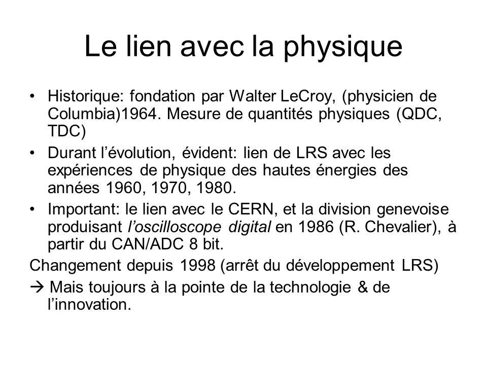 Le lien avec la physique •Historique: fondation par Walter LeCroy, (physicien de Columbia)1964. Mesure de quantités physiques (QDC, TDC) •Durant l'évo