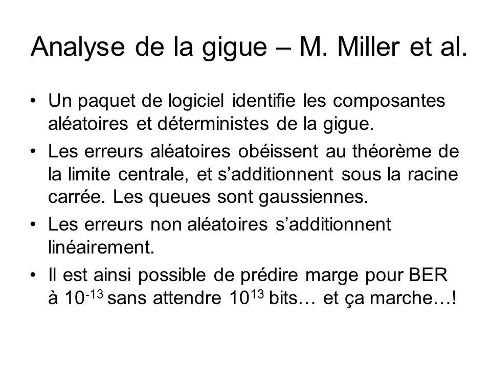 Analyse de la gigue – M. Miller et al. •Un paquet de logiciel identifie les composantes aléatoires et déterministes de la gigue. •Les erreurs aléatoir