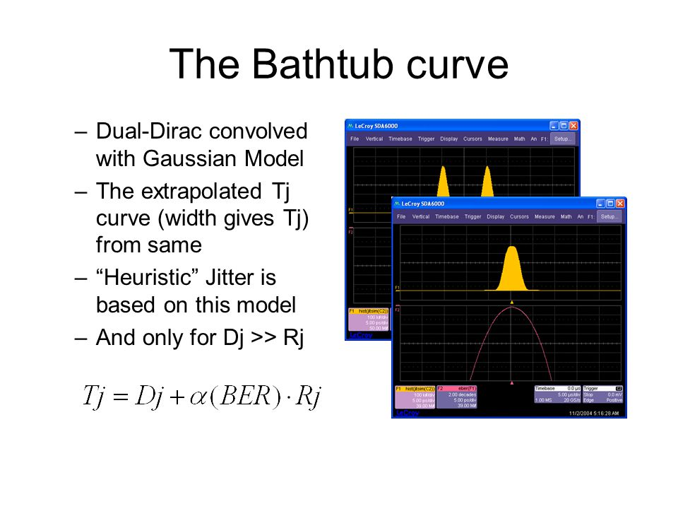 "The Bathtub curve –Dual-Dirac convolved with Gaussian Model –The extrapolated Tj curve (width gives Tj) from same –""Heuristic"" Jitter is based on this"