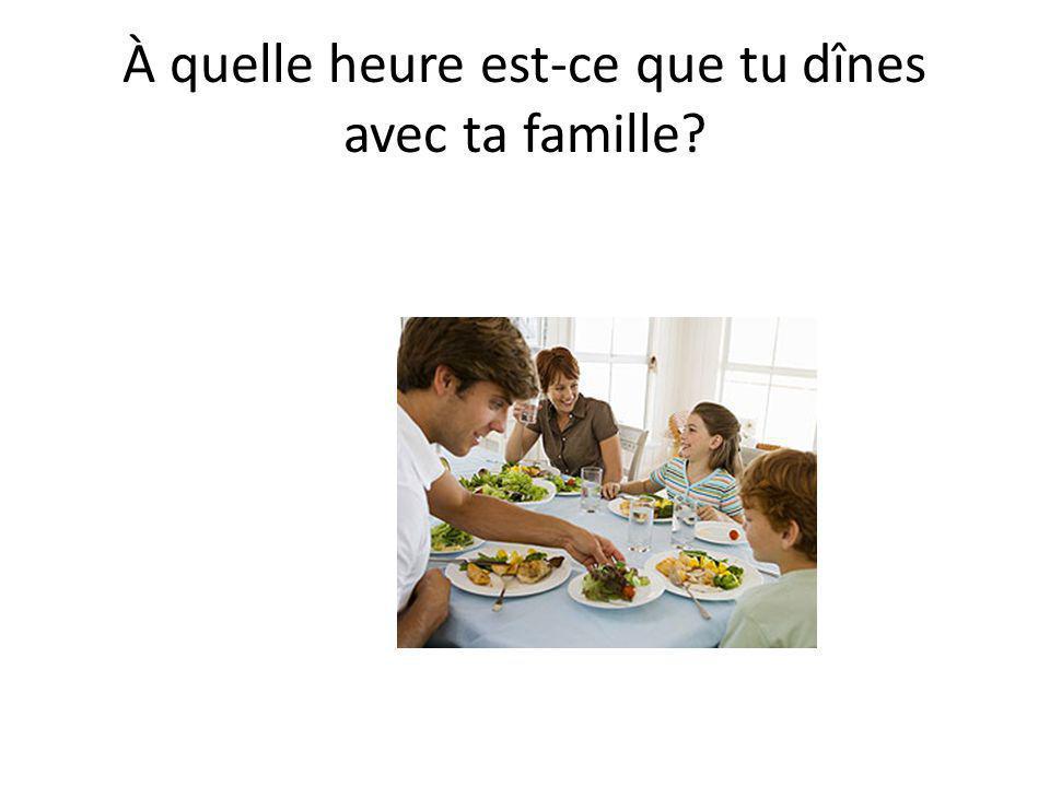 • Je dîne avec ma famille à….