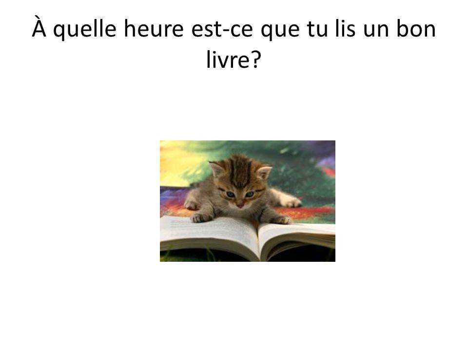 • Je lis un bon livre à….