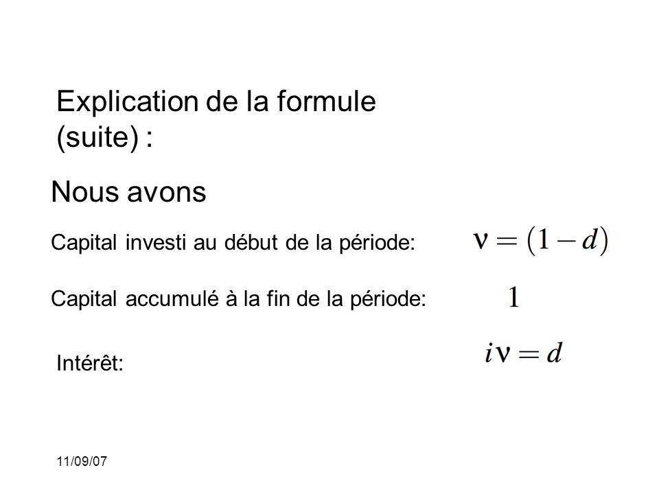 11/09/07 Autres formules d'équivalence: Nous avons que Cette dernière formule peut être interprétée de la façon suivante: