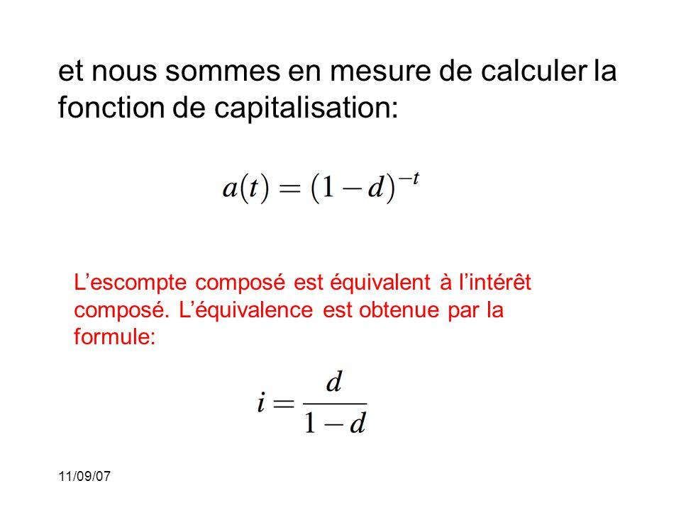 11/09/07 Escompte simple: (Description) Dans cette situation, nous supposons que le montant d'escompte est le même pour chaque période.