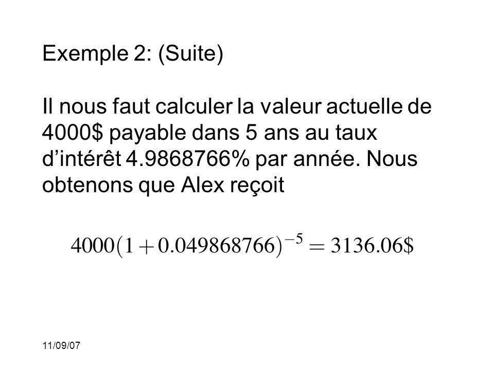 11/09/07 Exemple 3: Cléo contracte un prêt auprès de la banque desRichards.