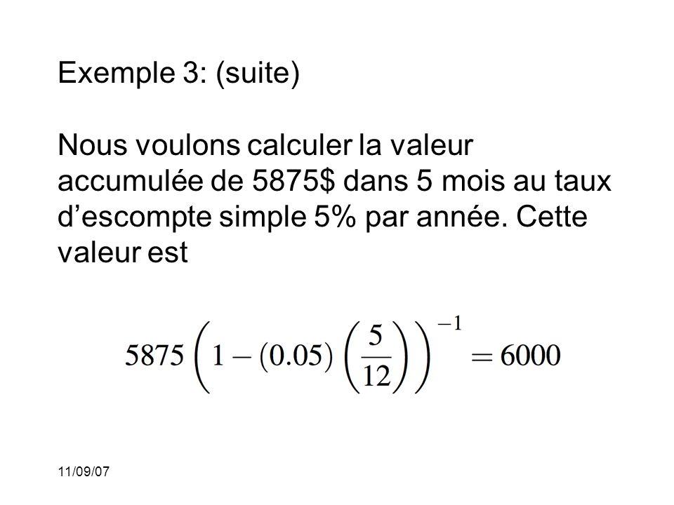 11/09/07 Comparaison: Si nous comparons les fonctions de capitalisation dans les cas de l'escompte simple et de l'escompte composé pour le même taux, nous obtenons le graphique suivant