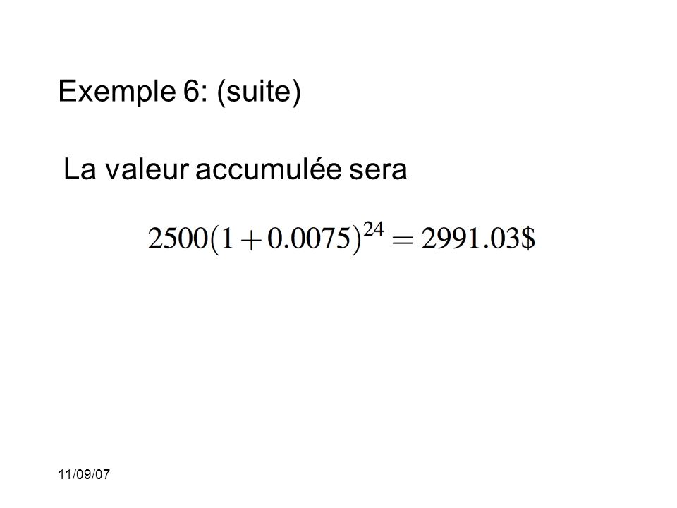 11/09/07 Taux nominal d'escompte: Si l'intérêt est capitalisé m fois par période (avec m > 1) et que le taux d'escompte pour chacun de ces m-ièmes de période est alors nous disons que le taux nominal d'escompte est