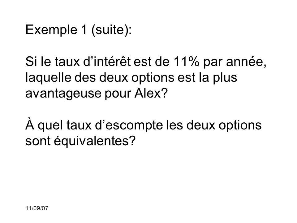11/09/07 Solution pour la première question: Dans la première option, la valeur actuelle du 2400$ payable dans un an est