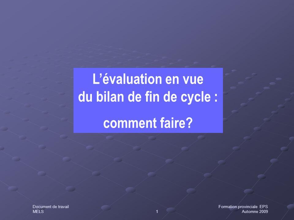 L'évaluation en vue du bilan de fin de cycle : comment faire? Document de travailFormation provinciale EPS MELS1Automne 2009