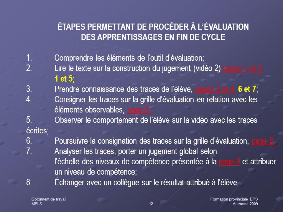ÉTAPES PERMETTANT DE PROCÉDER À L'ÉVALUATION DES APPRENTISSAGES EN FIN DE CYCLE 1.Comprendre les éléments de l'outil d'évaluation; 2.Lire le texte sur