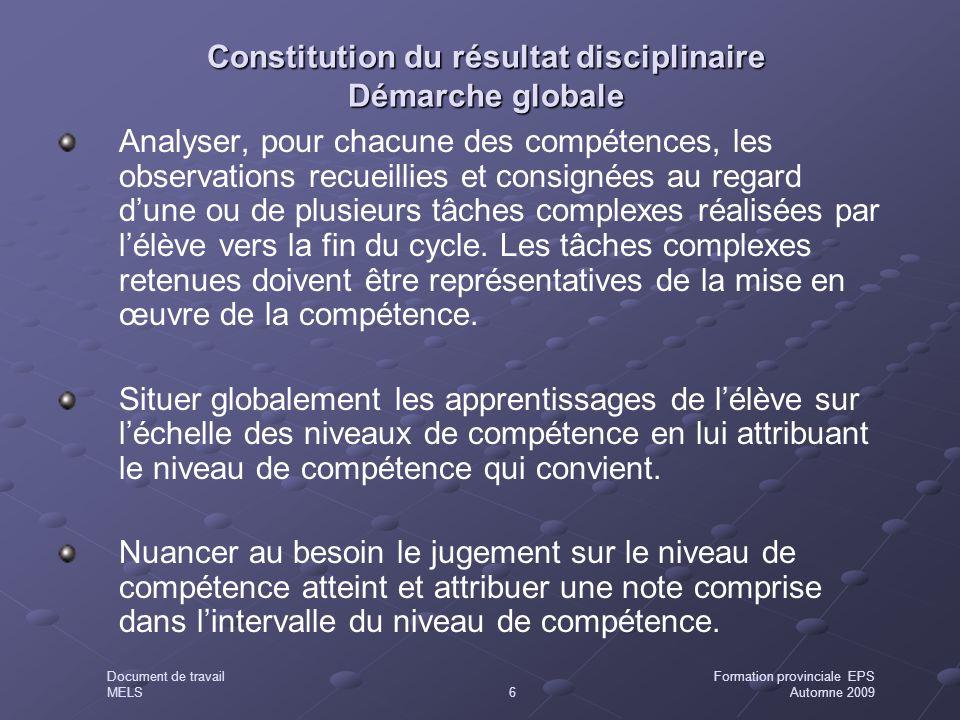 Constitution du résultat disciplinaire Démarche globale Analyser, pour chacune des compétences, les observations recueillies et consignées au regard d