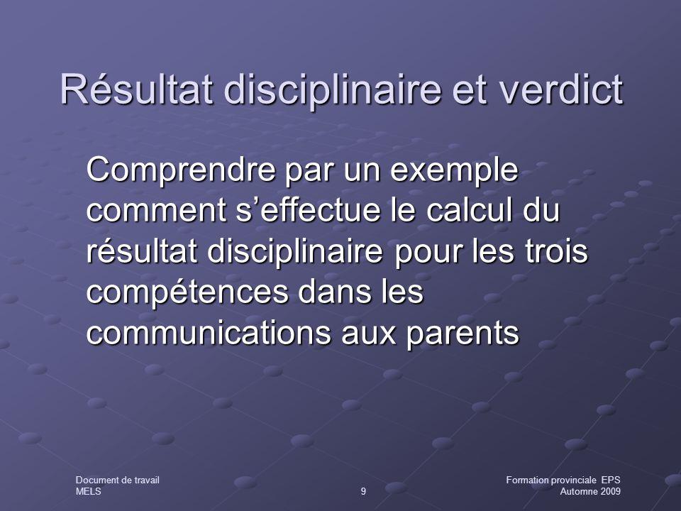 Résultat disciplinaire et verdict Comprendre par un exemple comment s'effectue le calcul du résultat disciplinaire pour les trois compétences dans les