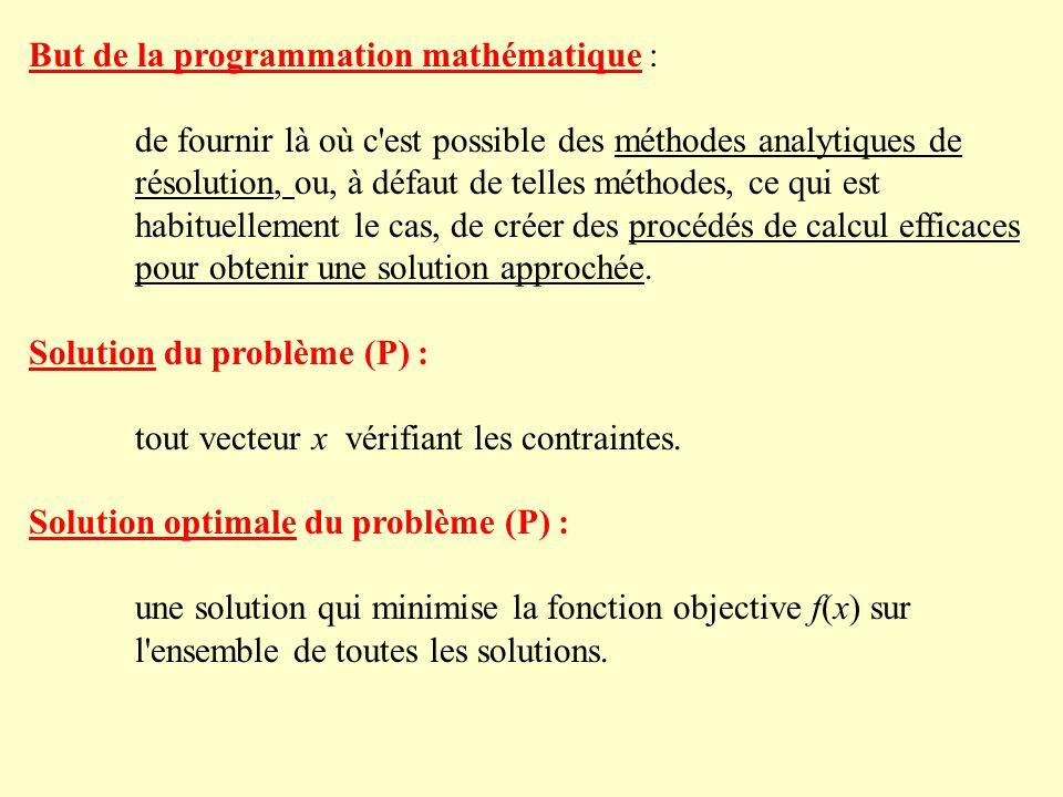 But de la programmation mathématique : de fournir là où c est possible des méthodes analytiques de résolution, ou, à défaut de telles méthodes, ce qui est habituellement le cas, de créer des procédés de calcul efficaces pour obtenir une solution approchée.
