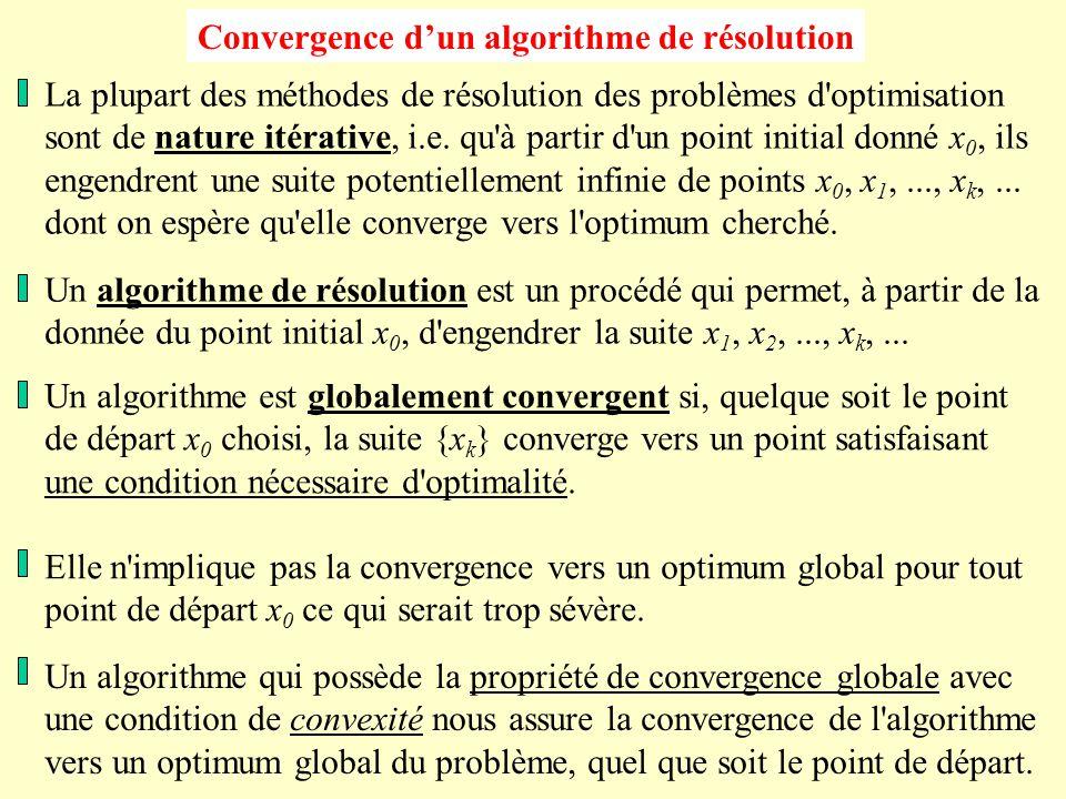 Convergence d'un algorithme de résolution La plupart des méthodes de résolution des problèmes d optimisation sont de nature itérative, i.e.
