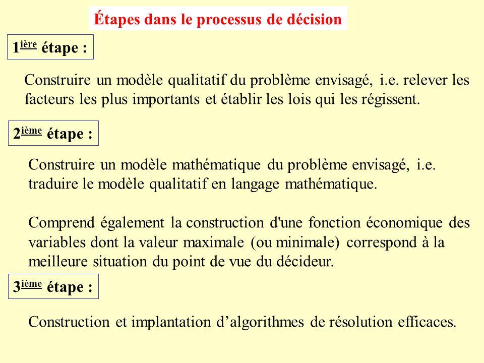 Étapes dans le processus de décision 1 ière étape : Construire un modèle qualitatif du problème envisagé, i.e.